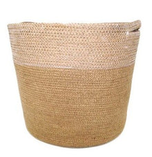 Natural with White Stitch Jute Baskets Set/3