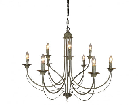 9 Arm Taupe Chandelier