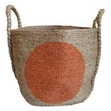 Jute Basket Orange Dot