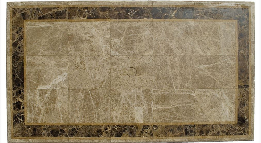 Saturn Travertine and Marble Table Rectangular