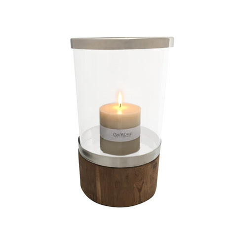 Hurricane Lamp Teak and Nickel