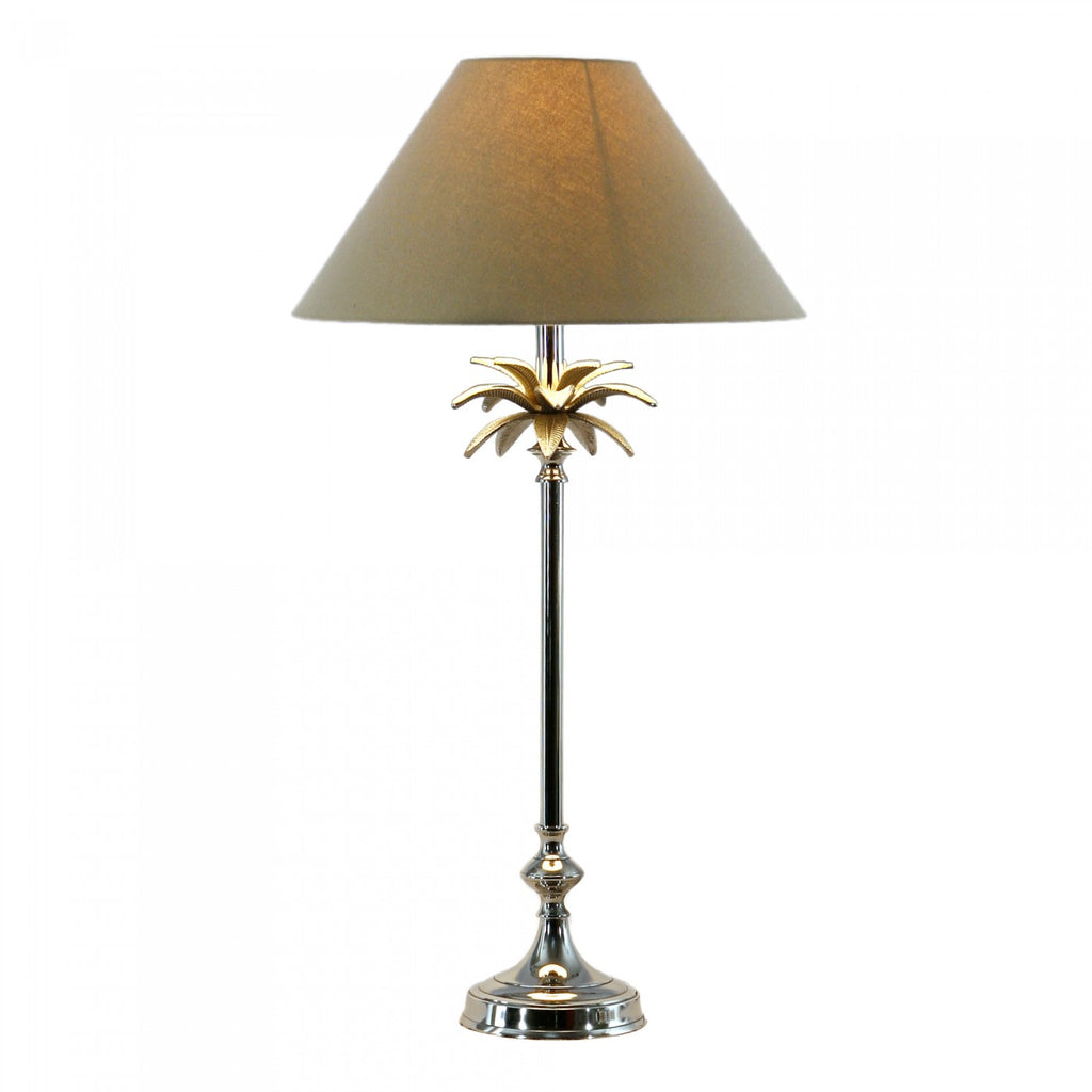 Nickel Palm Leaf Lamp with Taupe Shade Pair