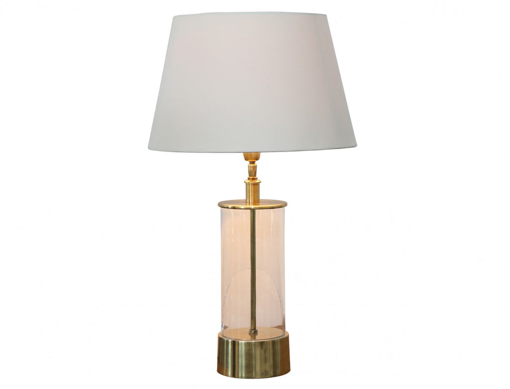 Glass and Brass Cylinder Lamp with Cream Shade