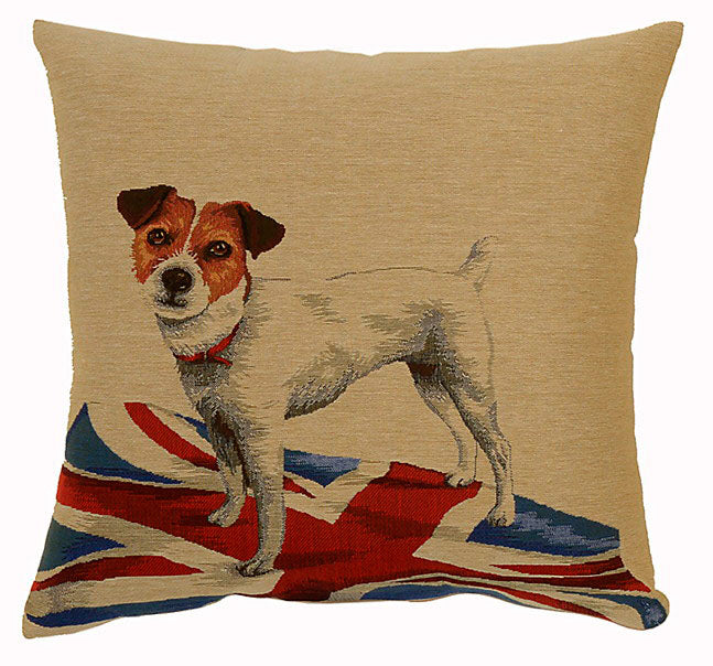 Dog on Flag Cushion, Jack Russell