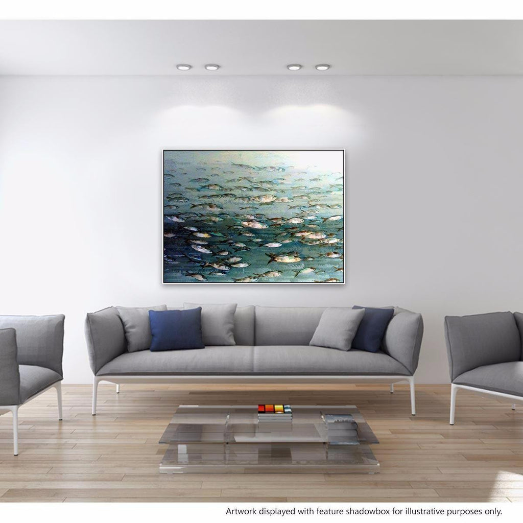 Pescatory Canvas Painting with Floating Frame