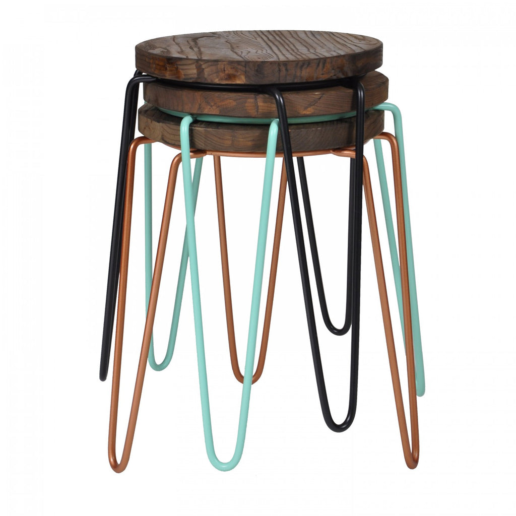 Tripod Iron Stool Mint Green