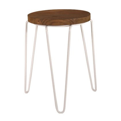 Tripod Iron Stool White