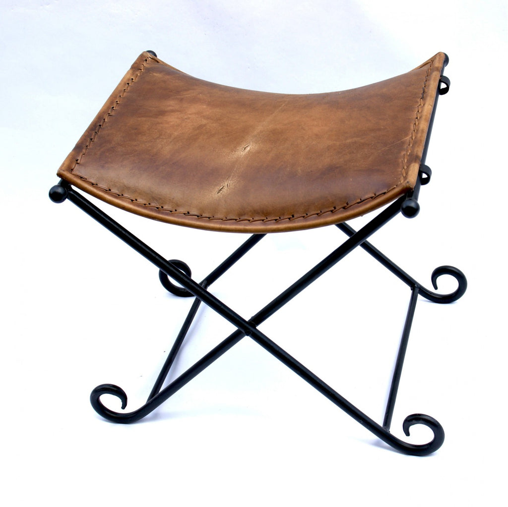 Leather and Iron Folding Stool