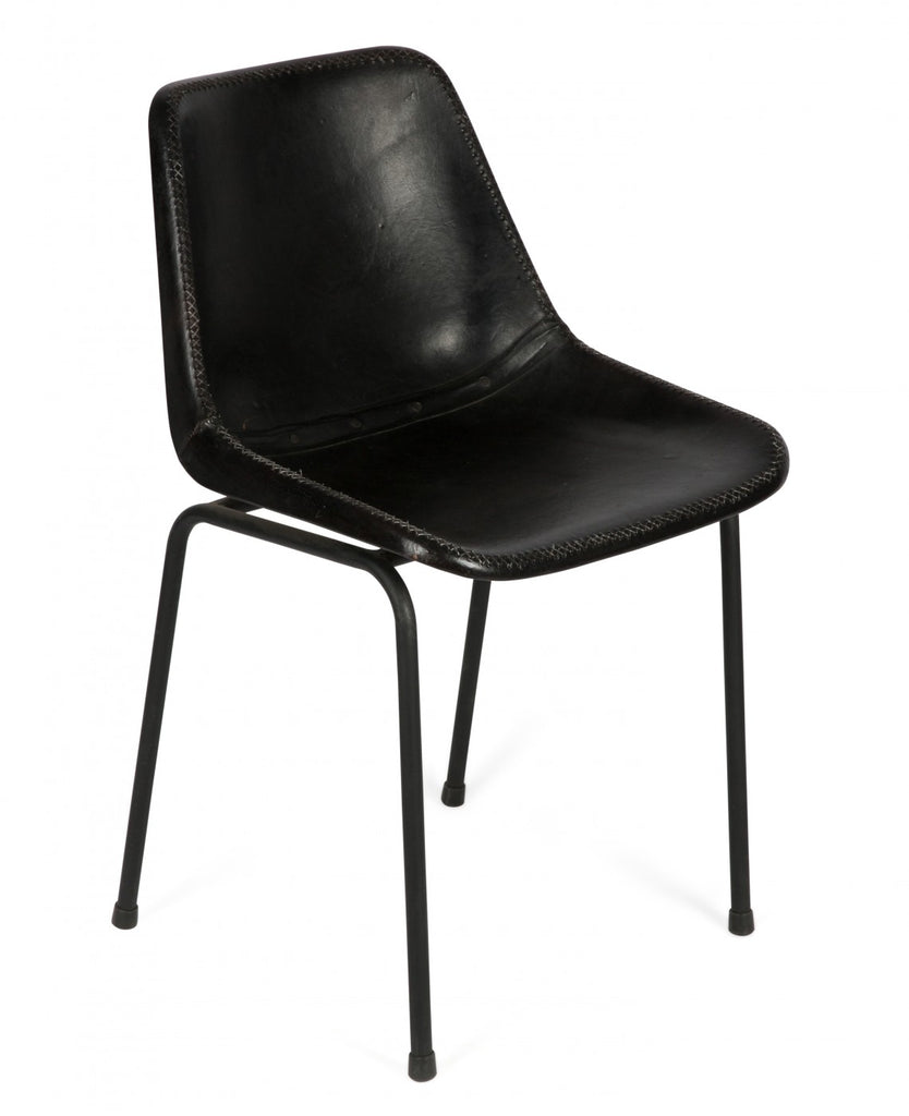 Aged Leather Dining Chair Black