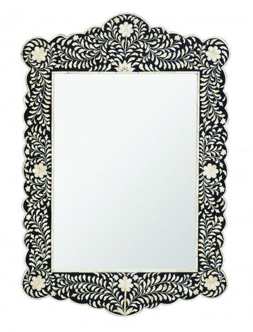 Bone Inlay Scalloped Mirror Floral Black