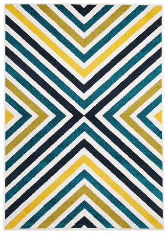 Indoor Outdoor Hex Rug Bule Navy Citrus