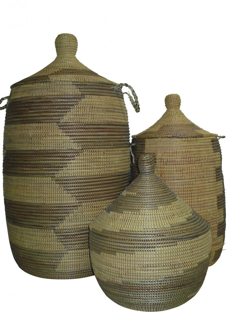 Mariama Senegalese Baskets Set/3 Grey/Natural