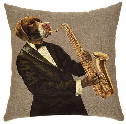 Musical Dogs Cushion Saxophone