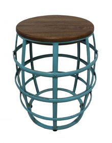 Barrel Frame Stool/Side Table Aqua