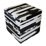 Striped Patchwork Cube Ottoman, Black and White