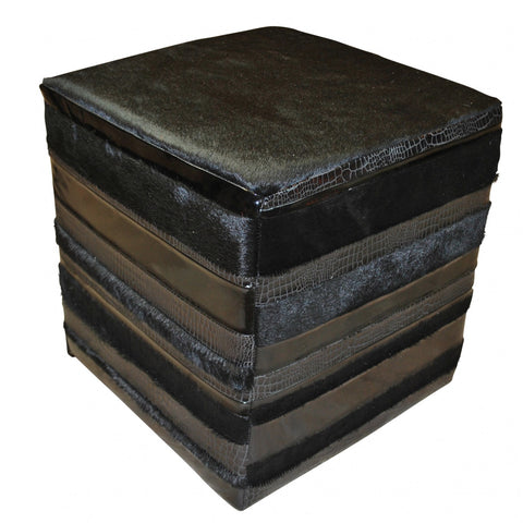 Cowhide and Leather Cube Ottoman