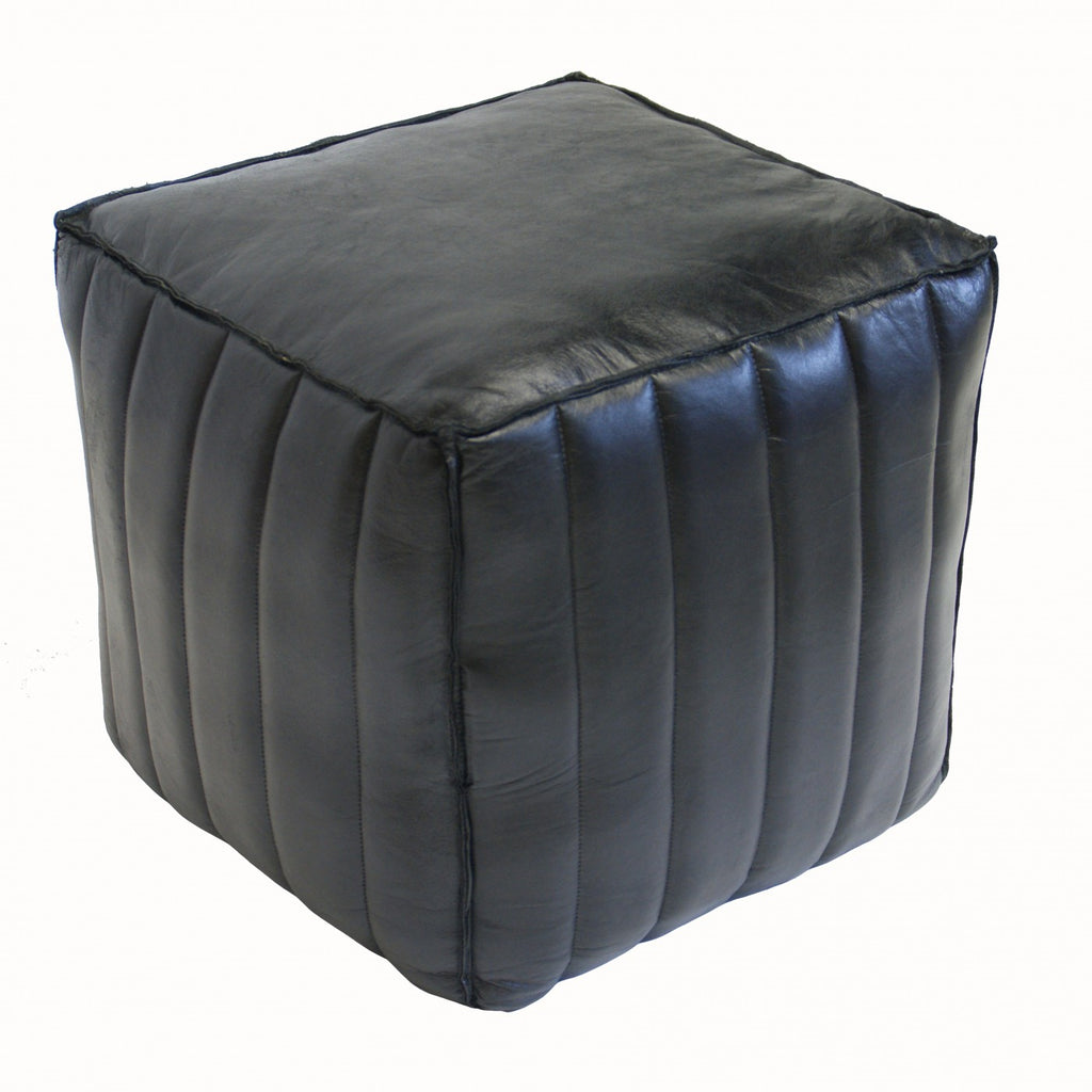 Channel Square Ottoman Black