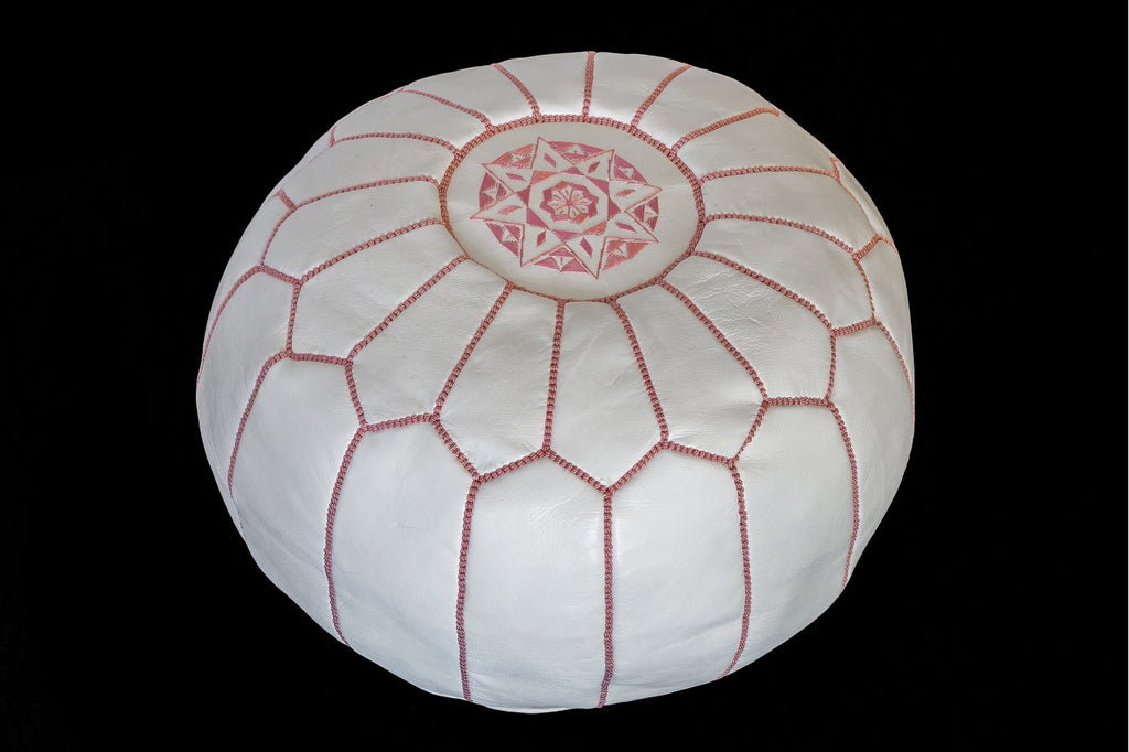 Moroccan Ottoman White with Pink