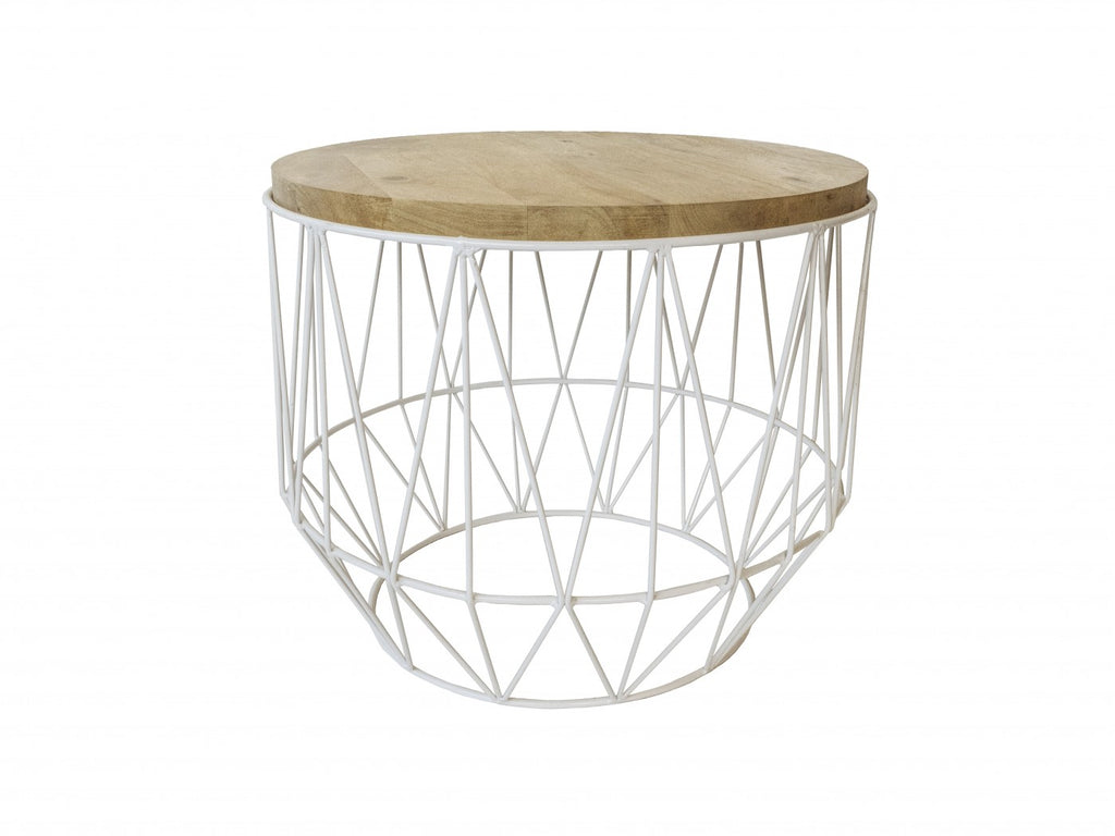 Round White/Natural Side Table
