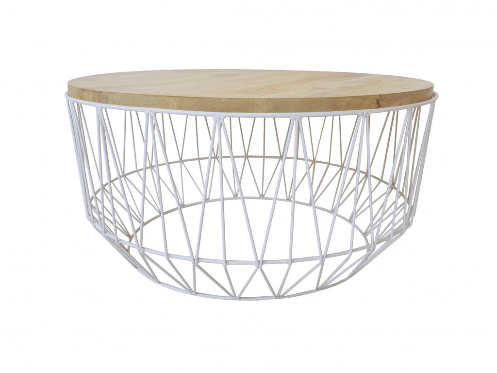 Round White/Natural Coffee Table