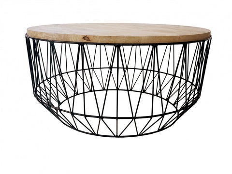 Hexagonal White/Natural Side Table