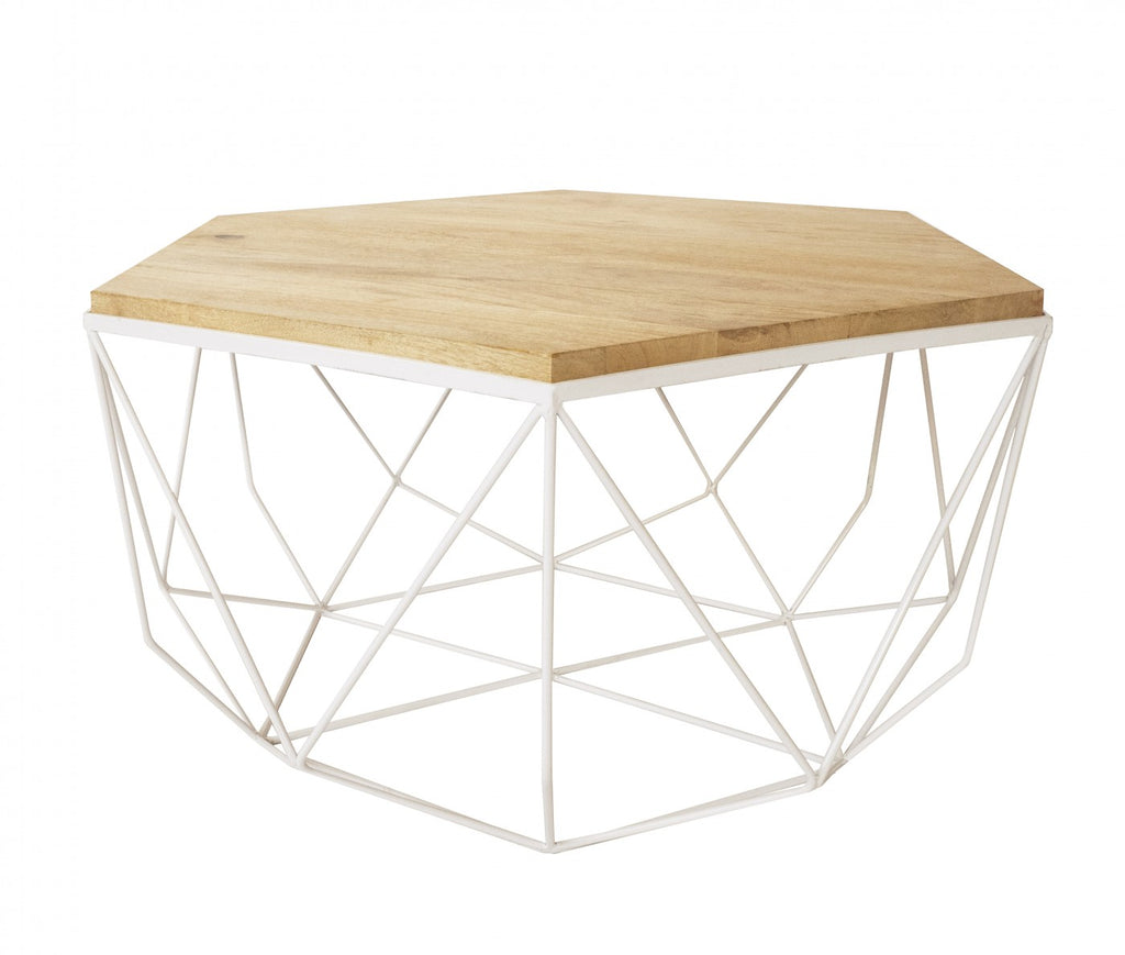 ... Hexagonal White/Natural Coffee Table ...