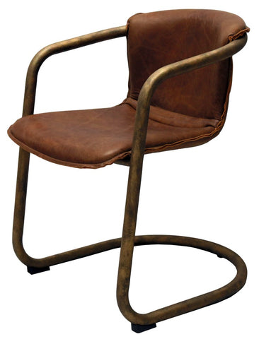 Leather and Bronze Dining Chair