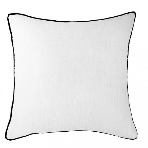 Piped Linen Black with White Cushion