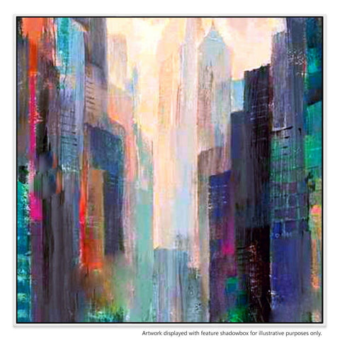 Towers Canvas Painting with Floating Frame