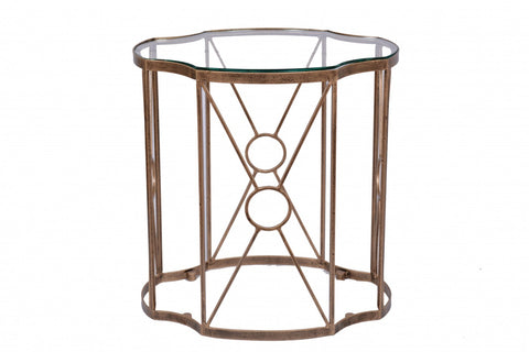 Tiered Set/2 Side Tables Copper Leaf