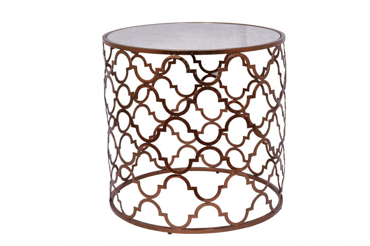 Quadrefoil Side Table Copper Leaf