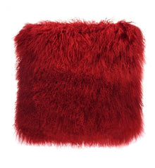 Red Tibetan Fur Cushion