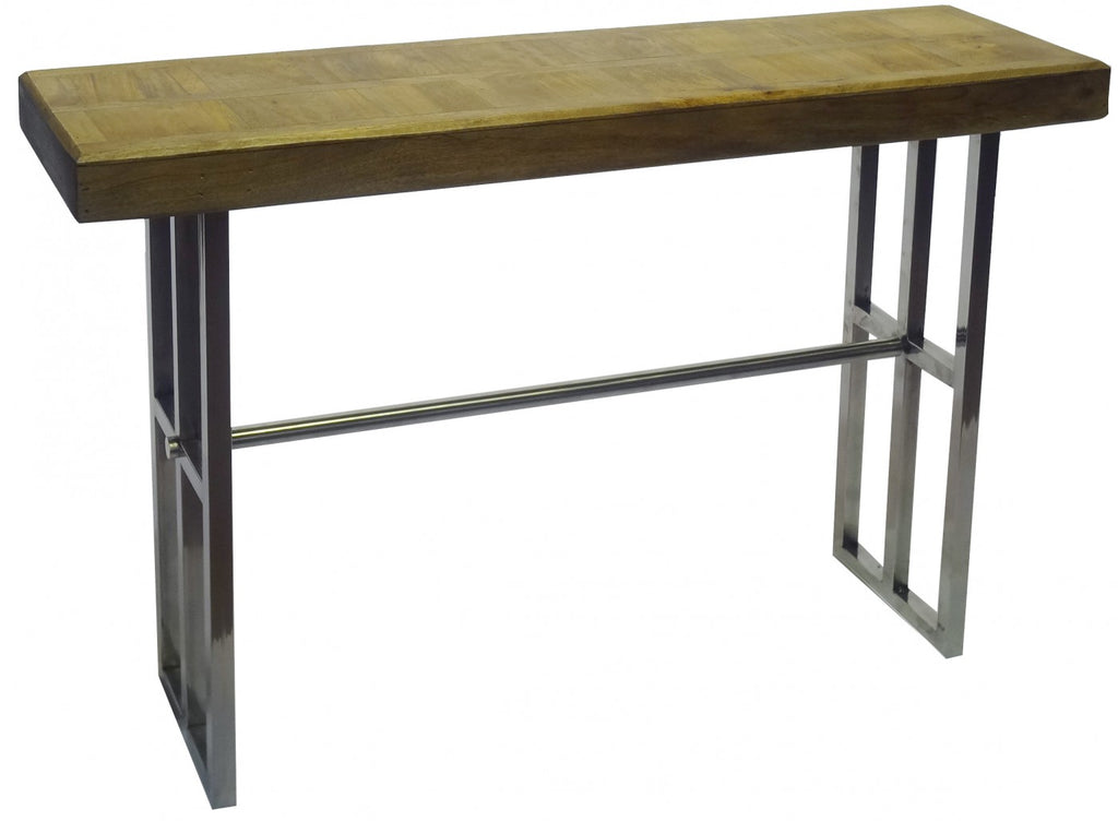 Parquetry and Stainless Steel Console Table
