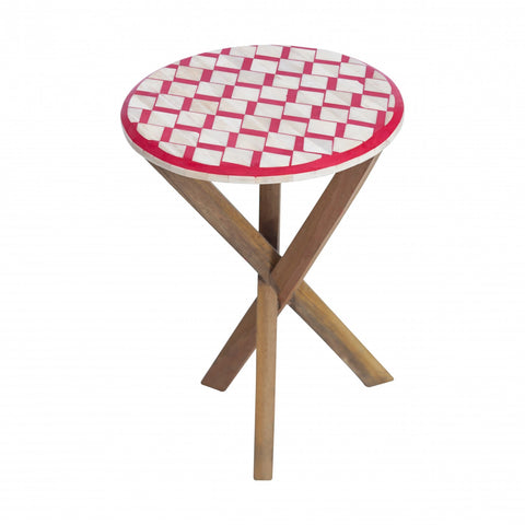 Bone Inlay Side Table Crimson