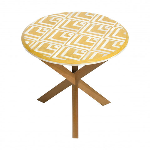 Bone Inlay Side Table Yellow