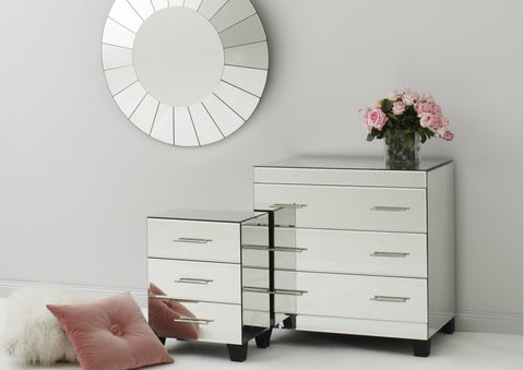 Black and White Bone Inlay Iberian Bedside Chest