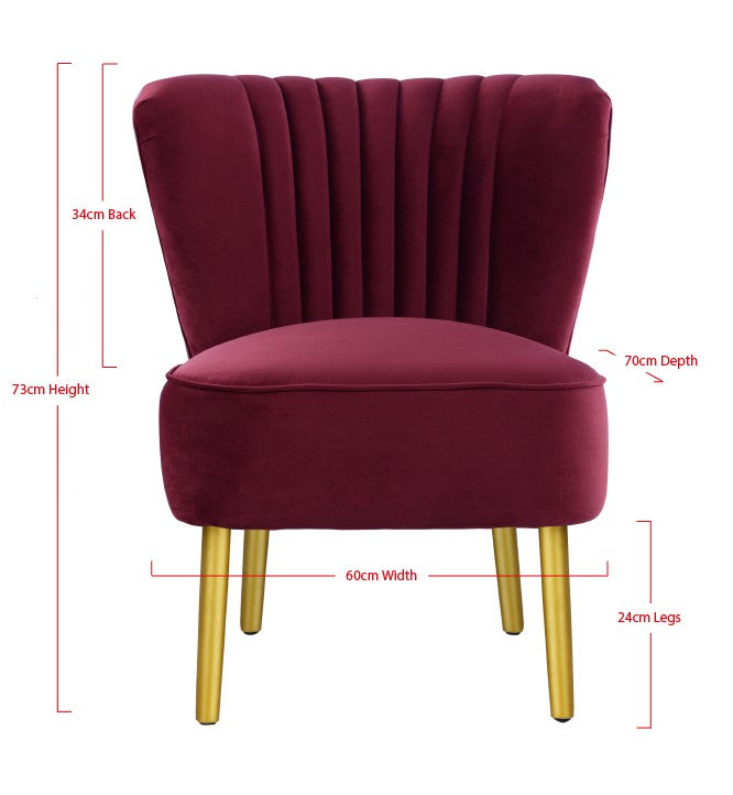 Slipper Chair Merlot with Gold Legs