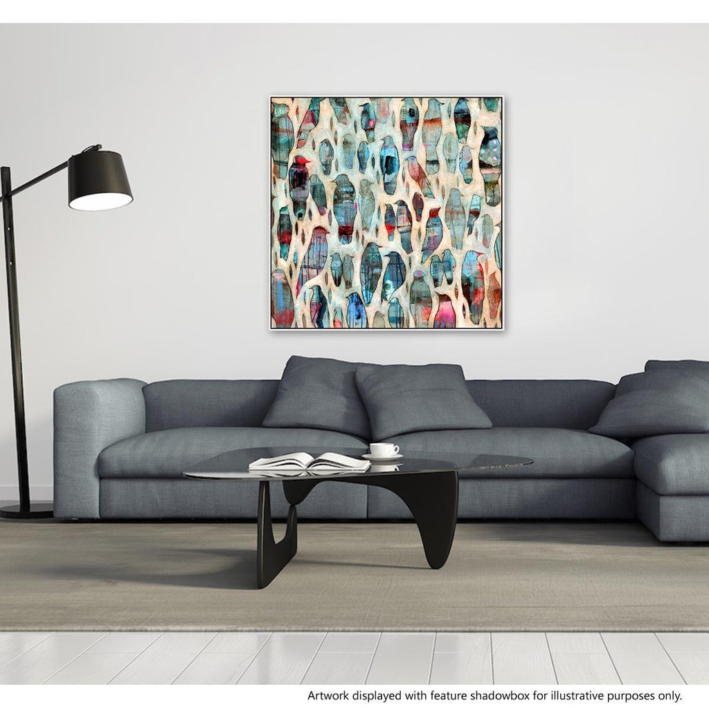 Chattering Canvas Painting with Floating Frame