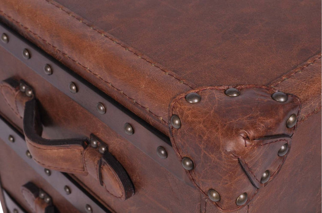 Vintage Leather 3 Drawer Chest