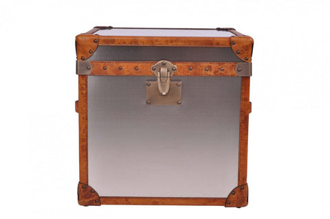 Matt Stainless Steel and Leather Trunk/Side Table