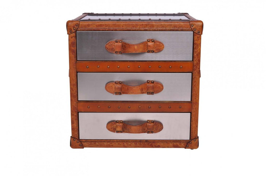 Matt Stainless Steel and Leather 3 Drawer Chest