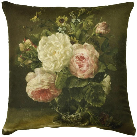 Museum Cushion Floral Rose Green