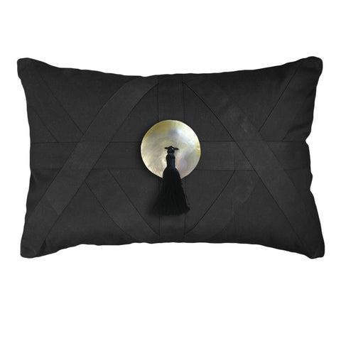 Tassel Cross Patch Black Lumber Cushion