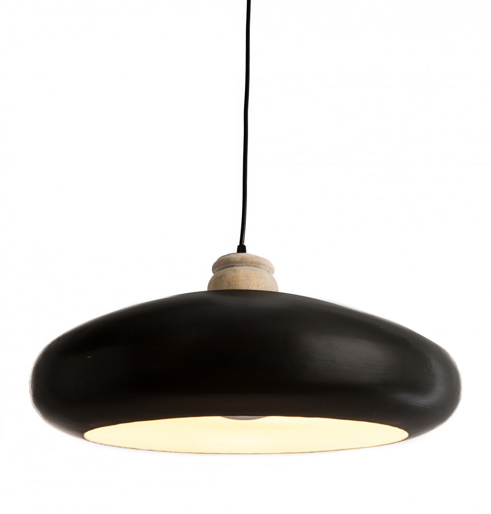 Black Iron Pendant with Wood Finial Large