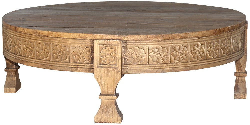 Carved Round Coffee Table