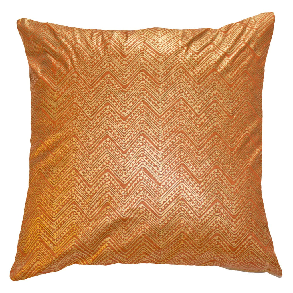 Zig Dot Block Orange Cushion