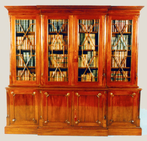 Chippendale Breakfront Bookcase, 4 Door