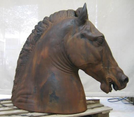 Equestrian Horse Head On Base Cast Iron Finish