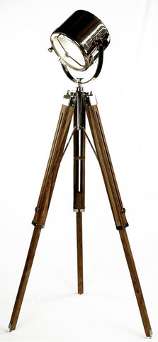 Floor Tripod Focus Lamp, Natural/Nickel