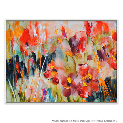 Hypnotic Blooms Canvas Painting with Floating Frame